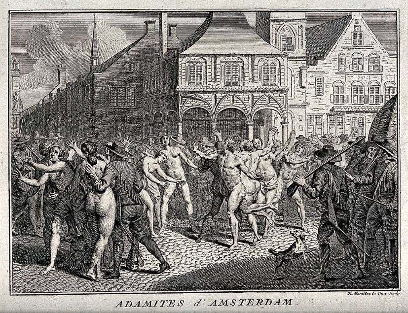 Descripción: https://upload.wikimedia.org/wikipedia/commons/thumb/d/d3/The_arrest_of_Adamites_in_a_public_square_in_Amsterdam._Etch_Wellcome_V0035701.jpg/1024px-The_arrest_of_Adamites_in_a_public_square_in_Amsterdam._Etch_Wellcome_V0035701.jpg