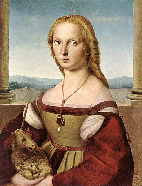 https://upload.wikimedia.org/wikipedia/commons/thumb/8/87/Lady_with_unicorn_by_Rafael_Santi.jpg/458px-Lady_with_unicorn_by_Rafael_Santi.jpg